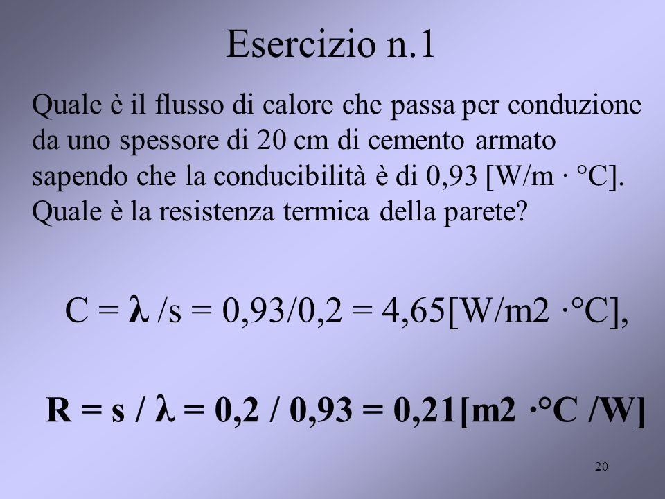 Esercizio n.1 C = λ /s = 0,93/0,2 = 4,65[W/m2 ·°C],